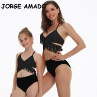 Summer Family Matching Swimsuit 2-pcs Sets Fringed Sling Bikini+Swimming Trunks Mother Daughter Clothes E2106 210428