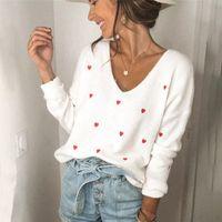 V Neck Embroidery Heart Sweater Women Pullover Knitwear Korean Style Kawaii Jumper Winter Casual Sweaters Tops Sale