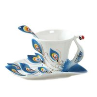 Creative Personality Gift Tea Set Peacock Coffee Cup and Saucer Sets Chinese Elegant Ceramic Cups Mugs Water Mug