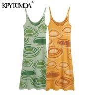 Повседневные платья KPYTOMOA Женщины Мода Paisley Print Knit Bodycon MIDI Платье Винтаж Пустоте Спагетти Ремешок Y2K Летняя Женская Муджерет