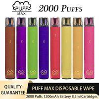 Puff Max 2000 Puffs Einweg Zigarettenstift 1200mAh Batterieleiste Vorgefüllt 8,5 ml Patronen Pod Portable E-Zigarettengerät