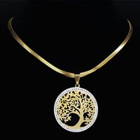 Fashion Tree Of Life Stainless Steel Crystal Neckless Women Gold Color Choker Necklaces Jewelry Colgante Mujer NXS02 Pendant