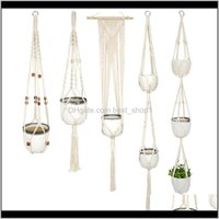 Macrame Plant Hanger Flower Pot Holder Cotton Rope Handmade Woven Indoor Wall Hanging Planter Basket Pots Home Decoration Multi J3L1B Rh5Rb