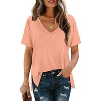 Women's T-Shirt Harajuku Solid Color Women Clothes Casual V-neck Loose Short Sleeve Tee Shirt 2021 Ladies Fashion Tops D30