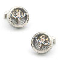 Erkek İzle Hareketi Kol Düğmeleri Kaliteli Paslanmaz Çelik Malzeme Gümüş Renk Moda Tourbillon Manşet Bağlantıları Bütün Perakende