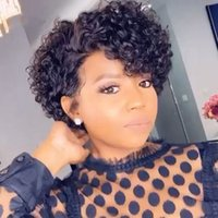13x4x1 Lace Front Pixie Cut Wigs Brazilian Water Wave Human Hair for Black Women Short Curly Bob Pre Plucked