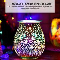 Aroma Electric Wax Melt Incense Burner 3D Touch Firework Lamp Night Light Tart Diffuser Warmer UK US Plug Fragrance Lamps