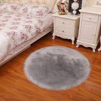 Cor pura tapete redondo tapete pendurado cesto tenda cadeira giratória almofadas imitação lã sala de estar quarto carpete6-7cm