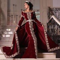 elegant Mermaid Long Sleeves Velvet Evening Dresses two Pieces Appliques Lace Prom Dress Detachable Skirt vestaglia donna Formal Women Gowns