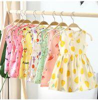 소녀 여름 드레스 민소매 코튼 포플린 패브릭 귀여운 인쇄 조끼 치마 나이트 가운 의류 2-8t 키즈 아기 옷 여행 플로랄 나이트웨어