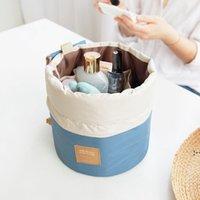 Сумки для хранения Корейский элегантный большая емкость Бочка в форме нейлоновой мытье Органайзер путешествия комод сумка косметический макияж BWE5397