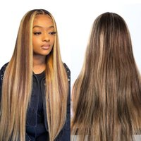 Lace Wigs LNE Highlight Wig Human Hair Transparent T Part Blonde Front 150 Density Straight L61102