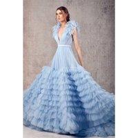 Sky Blue Dresses Deep V Neck Multilayered Ruffles Backless Evening Dress Custom Made Sleeveless Floor Length Party Gown