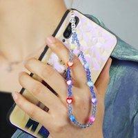 Link, Chain 2021 Phone Straps Crystal Beads Wrist Chains String Lanyard Heart For Girl Mobile Strap LOVE Letter Bracelet