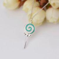 Lollipop Necklace Pendant Accessories Necklaces for Women 925 Sterling Silver Necklaces & Pendants Colar Scarf Chain