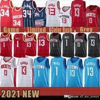 2021 NUEVO Jersey de baloncesto HoustonRocket Mens John 1 Wall James 13 Harden Hakeem 34 Olajuwon Malla Retro Lavender FFFFF
