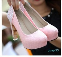 Sexy Wedding Bride White High Platform Crystal Transparent Chunky Heel Shoes ,Nightclub Party Womens Pumps Drop Shipping Size 35-39 u
