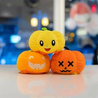 10cm Halloween Toy With Double Face Expression Pumpkin Mini Plush Dolls Cute Flipped Luminous Specter Doll Christmas Present Gifts