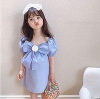 2021 디자이너 아기 소녀 꽃 가격의 드레스 여름 패션 키즈 큰 나비 짧은 소매 파티 드레스 달콤한 어린이 캐주얼 의류 S1152