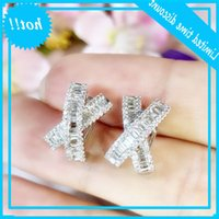 2020 Nova Coleção Hot Comprar Luxo Jóias 925 Sterling Silver Cross Oorbel Princesa Corte Branco Topázio CZ Diamante Clipe Brinco Presente