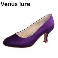 드레스 신발 간단한 디자인 신부 들러리 보라색 새틴 라운드 발가락 여성 Prom 펌프