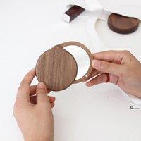 Newwalnut складной макияж зеркало скольжения крышки Ручной открытый портативный мини деревянный двухсторонний зеркал EWA6438