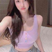 Sexy Button Tank Tops Fashion Womens Purple Vest Off Shoulder Halter Blusa Shirt Summer Slim Crop Top Camisole 210607