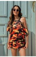 여성 여름 캐주얼 반팔 위장 인쇄 느슨한 탑스 블라우스 티셔츠