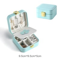 European-style Single-layer Simple Jewelry box Portable Storage Boxes Earrings Ring PU Leather Small Mini Boxs
