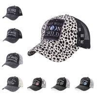 파티 모자 크리스 크로스 포니 테일 모자 여자 씻어 그물 수 놓은 모자 지저분한 롤빵 표범 야구 모자 t2i51820