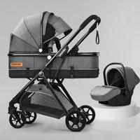 Strollers# Lightweight High Landscape Baby Stroller 3 In 1 Portable Pram Infant Cradle Bassinet