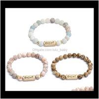 Credenza perline 8mm in pietra natual debossato parola più forte elasticità elasticizzata facile da indossare braccialetto unisex q8pk3 aadhz
