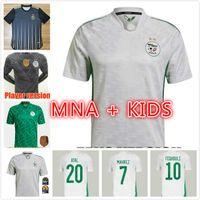 Adam Çocuk Hayranları Oyuncu Sürümü Cezayir Futbol Forması 2021 Eve Dight Mahrez Bounedjah Bennacer Atal 20 21 Cezayir Futbol Gömlek