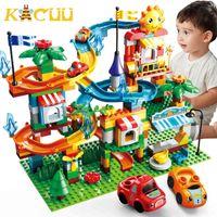 Kacuu Marble Race Run Big Size Creator City Building Blocks Funnel Slide Auto FAI DA TE Figura Giocattoli educativi per bambini X0503