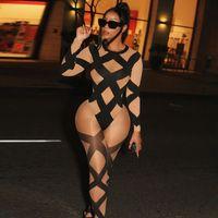 Женщины Cross Striped Tracksuits Двухструктурные набор Улавная Одиночество Одикруит + эластичные леггинсы сетки см. Через полуночную клубную одежду Skinsy Outfits Cross Top Leging Sportswear