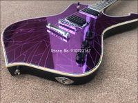 Iceman Paul Stanley Signature lila gebrochener Spiegel E-Gitarre Crackmirror Pickguard, Abalone Body Bindung, Chrom-Hardware