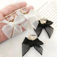 2021 New Jewelry Korean Sweet Black White Bowknot Women Earrings Sweet Fabric Lace Bow Fashion Drop Earrings Jewelry Gift