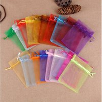 9x12cm Colorful Drawstring Organza Jewelry Candy Packaging Bags Birthday Party Christmas Gift Pouches