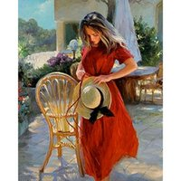 Paintings CHENISTORY Oil Painting By Number Beautiful Girl In Red DIY Paint Pictures Drawing Chair Numbers Canvas Coloring Home Decor