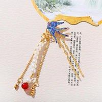 خمر النمط الصيني دبوس الشعر الأزرق ابتلاع الشكل الديكور الفاخرة الذهب اللون النحاس سلسلة اللؤلؤ مطرز شرابة 2021 هدية مقاطع الشعر بارع