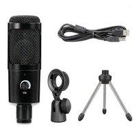 Karaoke USB Mikrofon Bilgisayar için Canlı Streaming Tripod Profesyonel KTV Taşınabilir Kardioid Kondenser Metal Konuşma Dizüstü1