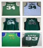 Dikişli Erkekler Paul 34 Pierce Formalar Vintage Yeşil Beyaz Siyah Renk Basketbol Koleji Gömlek Hızlı Kargo