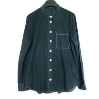 100% Cotton Womens Green Blouse O-neck Single-breasted Lady Shirt Femme Simple Casual Shirts And Top With Single Pocket Women's Blouses &
