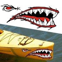 2PC 카약 스티커 방수 상어 치아 입 스티커 데칼 카누 딩기 해양 보트 자동차 트럭 자동차 바디 DIY 포장