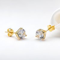 LESF Jewelry Palace Sona Diamond Stud Yellow Gold 925 Sterling Silver For Women Girls Earrings Fashion