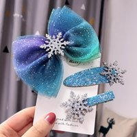 Christmas Snowflake Hair Accessories Crystal Hair Clips for Women Winter Hair Ties Girls Hairpins Blue Scrunchies cny2560