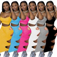 Women Two Piece Dress summer fall clothing hollow out sexy club elegant t-shirt skirt sweatsuit pullover crop top vest bodycon outfits sleeveless bodysuits 01755