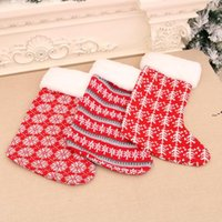 Delicate Cute Red White Stripe Christmas Gift Stocking Claus Socks Kids Candy Gifts Bag Holder Fireplace Xmas Tree Decoration NHD8888