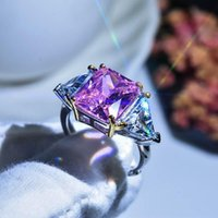 Super Flash Princess Square Ring Pink Zircon Hearts & Arrows Moissanite Diamond Resizable Female Jewelry Gift Cluster Rings