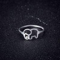 Anillo de elefante de animales huecos huecos de estilo hueco hueco de moda de estilo coreano